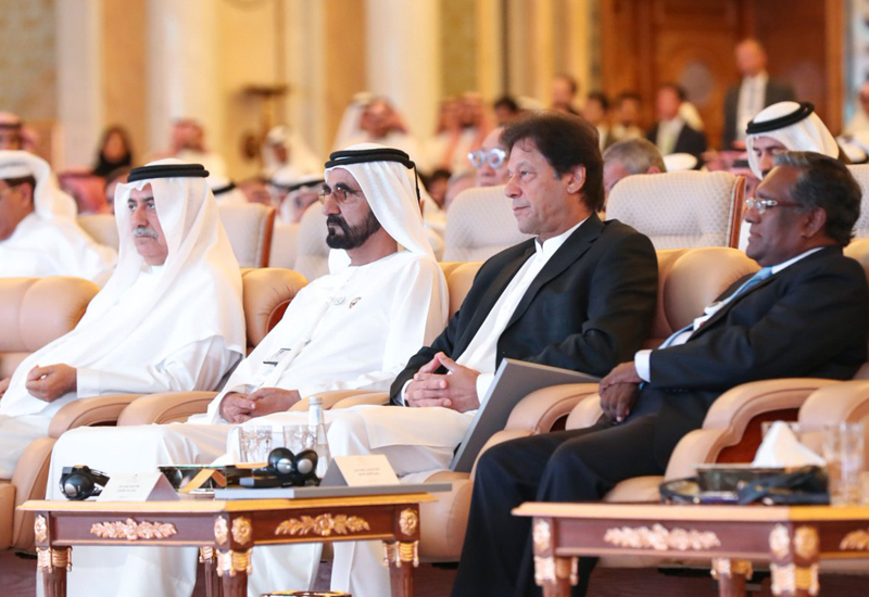 HH Sheikh Mohammed and PM Imran Khan are among the attendees of Public Investment Fund's Future Investment Initiative 2018 conference in Riyadh [image: Twitter / Dubai Media Office].