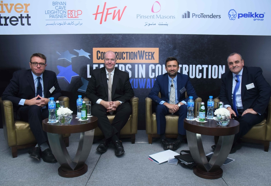 The dispute resolution panel at Construction Week's Leaders Kuwait Summit (L-R): Jonathan Collier, Richard Davies, Michael Sergeant, and Peter Banathy.