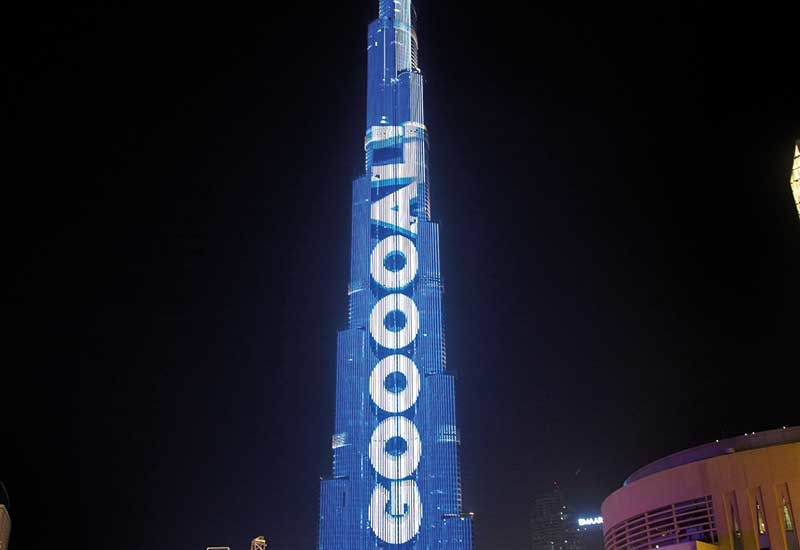 Burj Khalifas faade was used as a scoreboard during the 2018 Fifa World Cup 2018 [image: Emaar].
