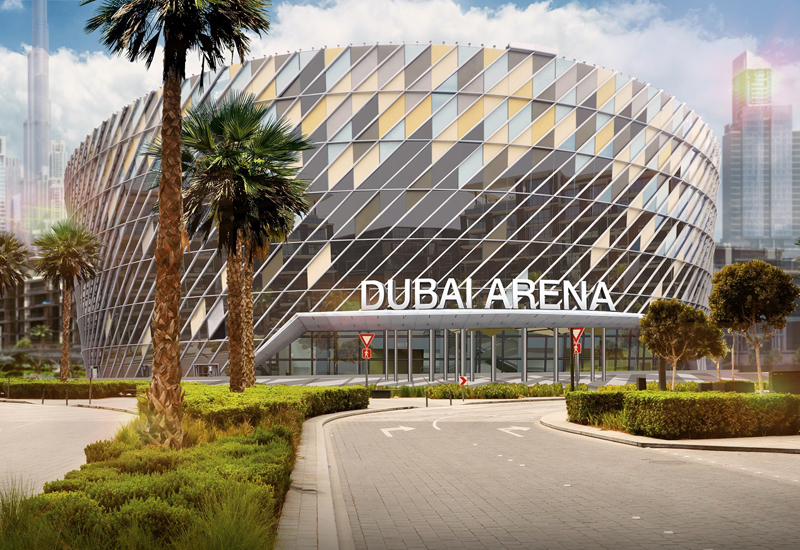Dubai Arena's roof, which weighs as much as seven Airbus A380 aircraft, is supported by two 'mega-trusses' that Demag cranes helped to build [image: Meraas].