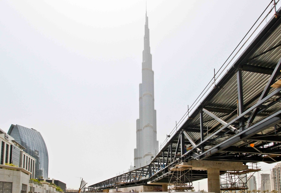 Pictured here is the pedestrian bridge between Dubai Mall and Dubai Metro whilst under construction.