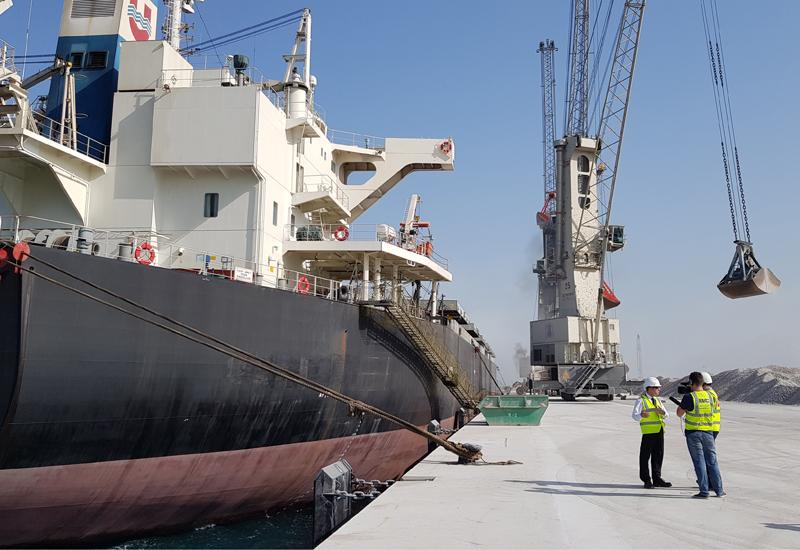 Panamax Vessel Cemtex Leader at the UAE's Saqr Port in Ras Al Khaimah [image: Bam International].