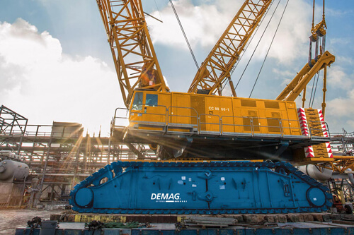 Demag CC 8800-1 cranes were operated by Aljaber Heavy Lift for Dubai Arena [image: terex.com].