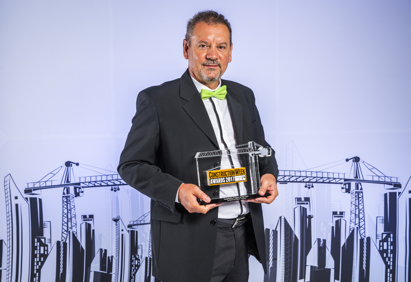 Nominated by Aurecon, Dubais Jumeirah Al-Naseem won Hospitality Project of the Year. Pictured here is Aurecon's Ermis Marques with the big prize.