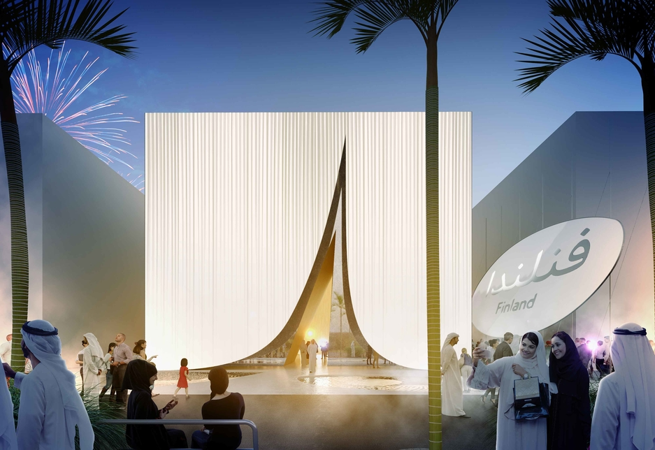 Architects behind the Finland Pavilion at Expo 2020 Dubai say the building's entrance resembles a tent.
