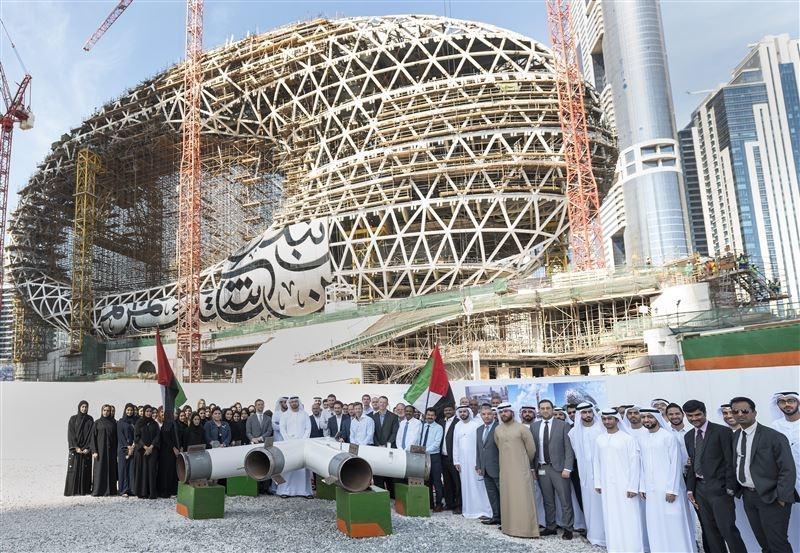 Dubai's Museum of the Future has achieved building structure completion, Dubai Future Foundation said [image: Dubai Media Office].