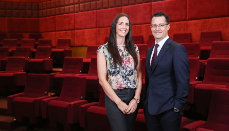 Sarah Rodgers [left], Head of Soft Services in the Knowledge Theatre and Alex Davies, Managing Director, Emrill, at the new Emrill Centre of Excellence in Dubai.