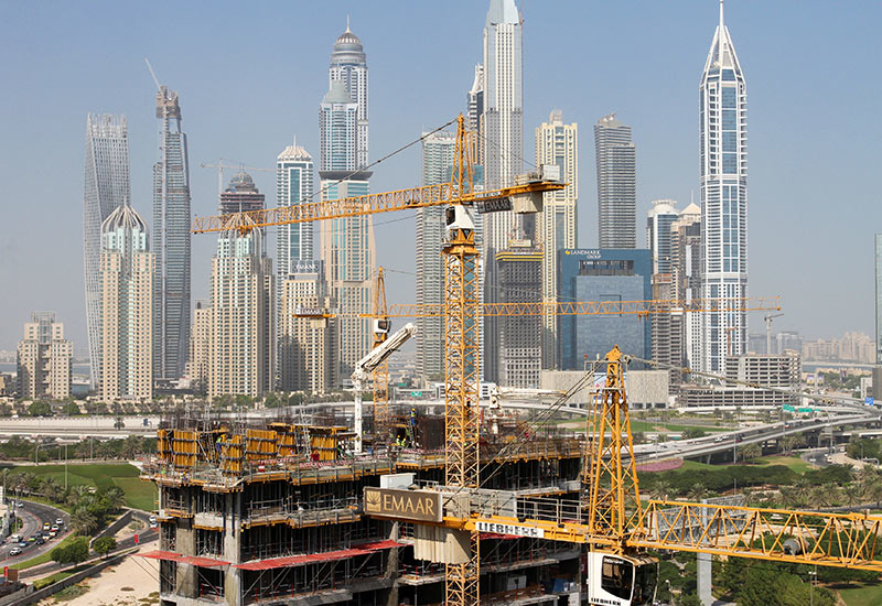 The GCC's total construction project pipeline is valued in the trillions [representational image of a Liebherr tower crane in Dubai].