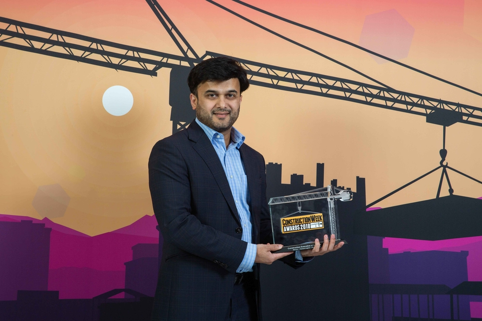 Aecom's Hamed Zaghw won Construction Executive of the Year at Construction Week Awards 2018. His award was picked up by a colleague.