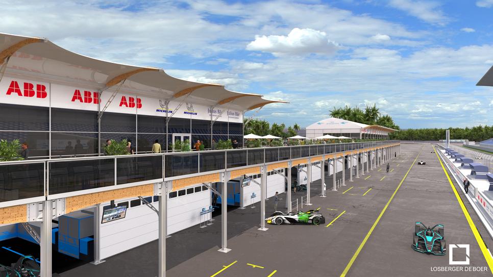 A design rendering of the Riyadh City Race Circuit project in Saudi Arabia [image: Losberger De Boer].