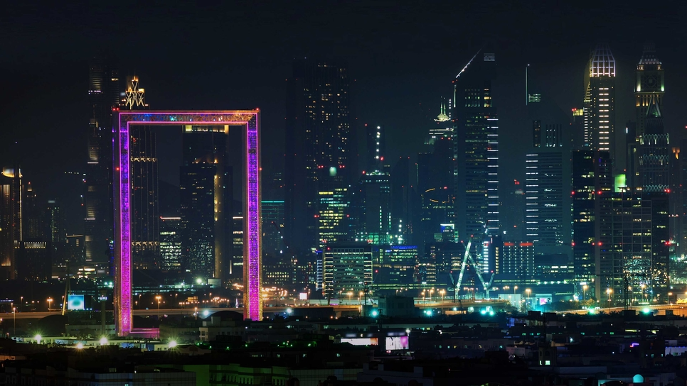 Dubai Frame's architectural lighting features colour-changing luminaires [image  Signify].