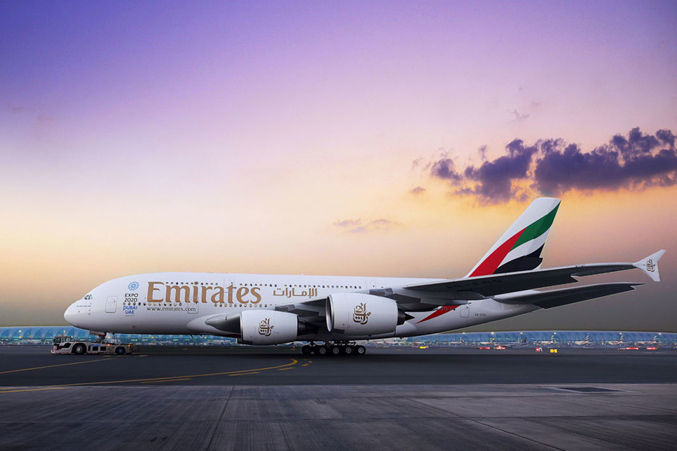 The A380 will replace Emirates' current B777 planes for the Dubai-Glasgow-Dubai route in April 2019 [image: Emirates].