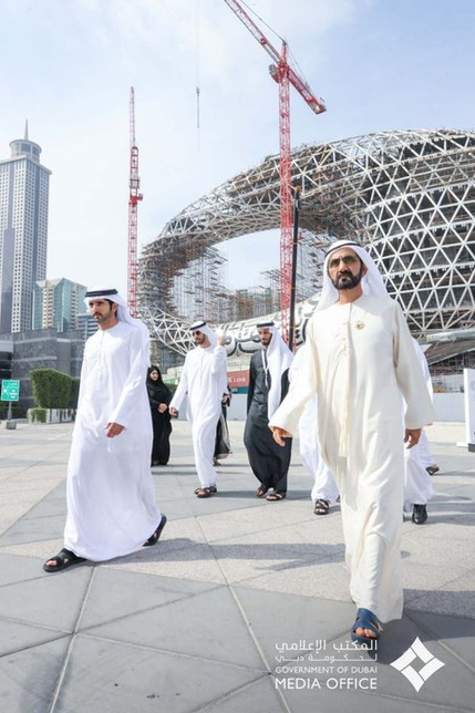 Dubai Ruler HH Sheikh Mohammed bin Rashid Al Maktoum visited the construction site of Museum of the Future.