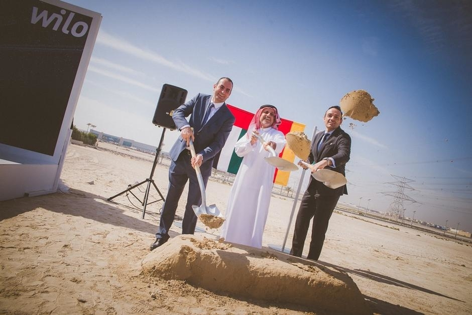 German pipe manufacturer Wilo has opened its new Mena HQ in Dubai's Jafza [image of Wilo laying the foundation stone in 2017].