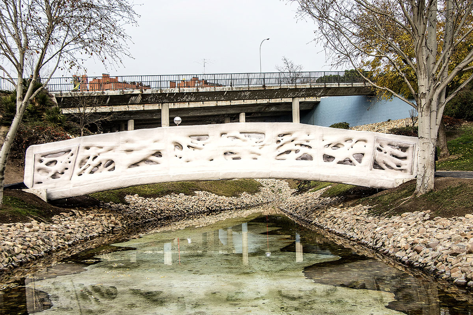 Acciona built the world's first 3D-printed pedestrian bridge in Madrid, Spain.