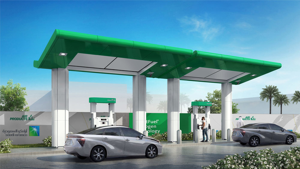 A rendering of the hydrogen station for electric cars that Saudi Aramco and Air Products plan to build in Dhahran.