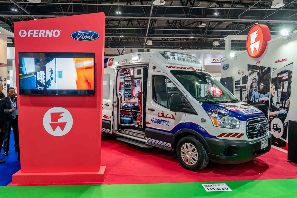 Ford's Transit 350 van, here seen at Arab Health 2019, was modified for the Dubai 10X initiative.