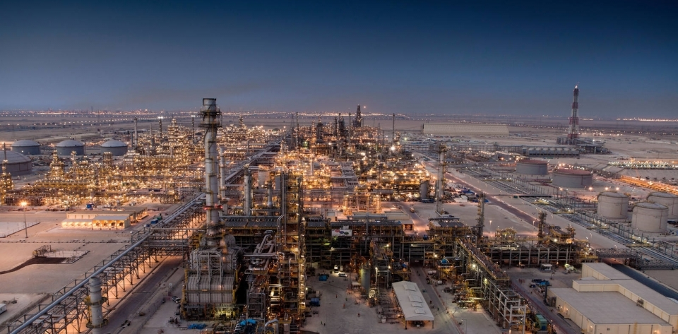 View from the top of the Satorp refinery's paraxylene distillation tower in Jubail.