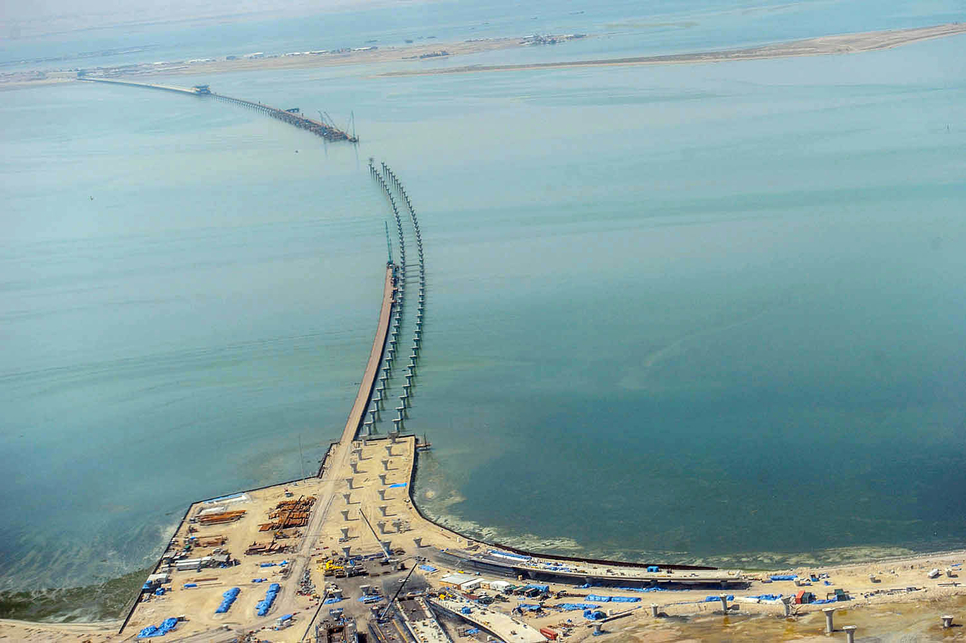 The construction of Kuwait's Sheikh Jaber Causeway is 'almost complete'.