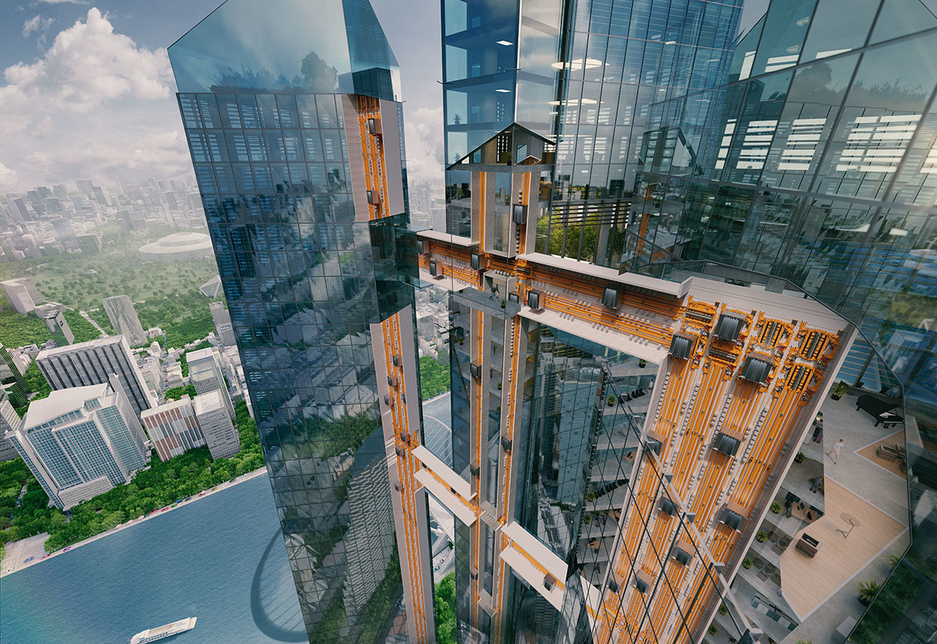 Thyssenkrupp's Multi system involves elevators that can move in all four directions.
