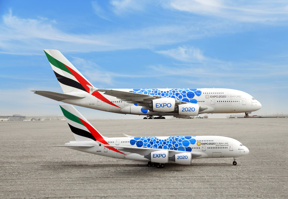 Emirates has unveiled aircraft models featuring Expo 2020 Dubai livery.