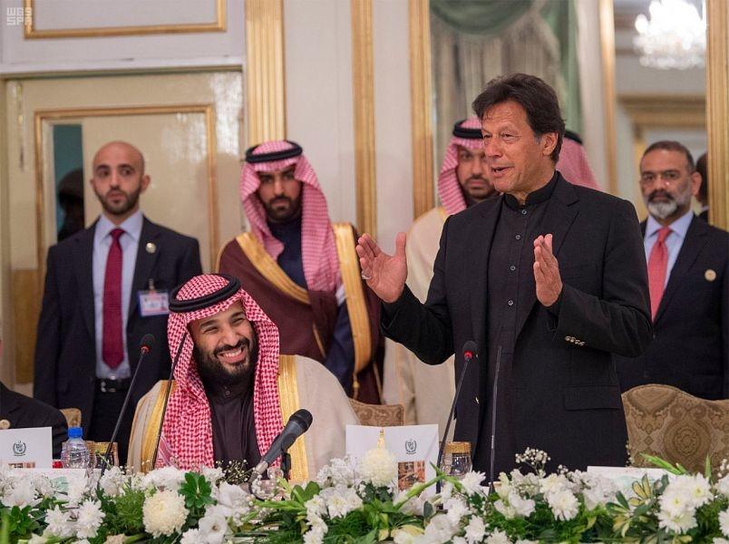 Saudi Arabia's Crown Prince with Pakistan's PM Imran Khan.