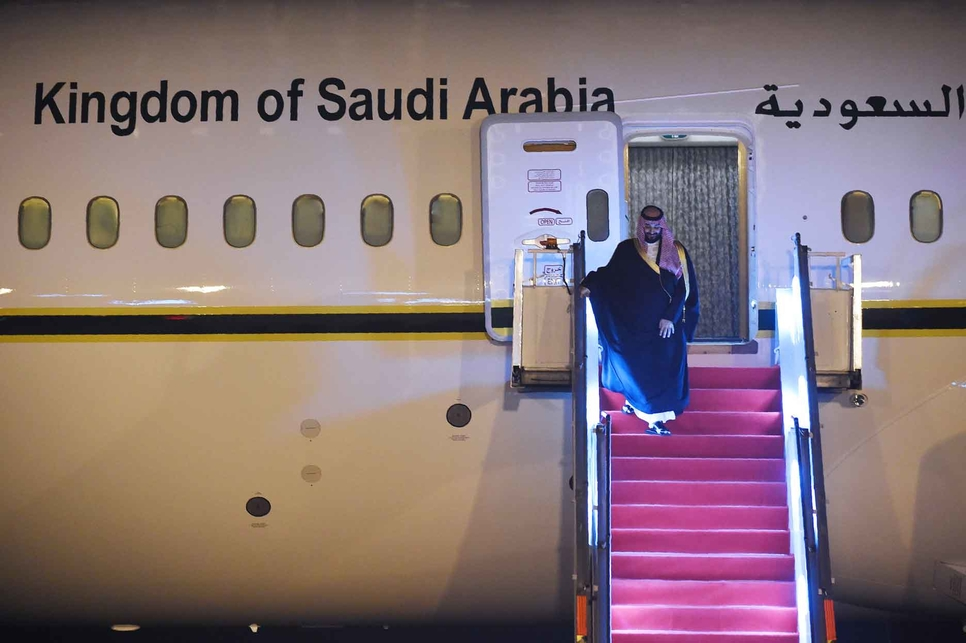 Saudi Arabia's Crown Prince seen deplaning in Inda to be received by PM Narendra Modi.