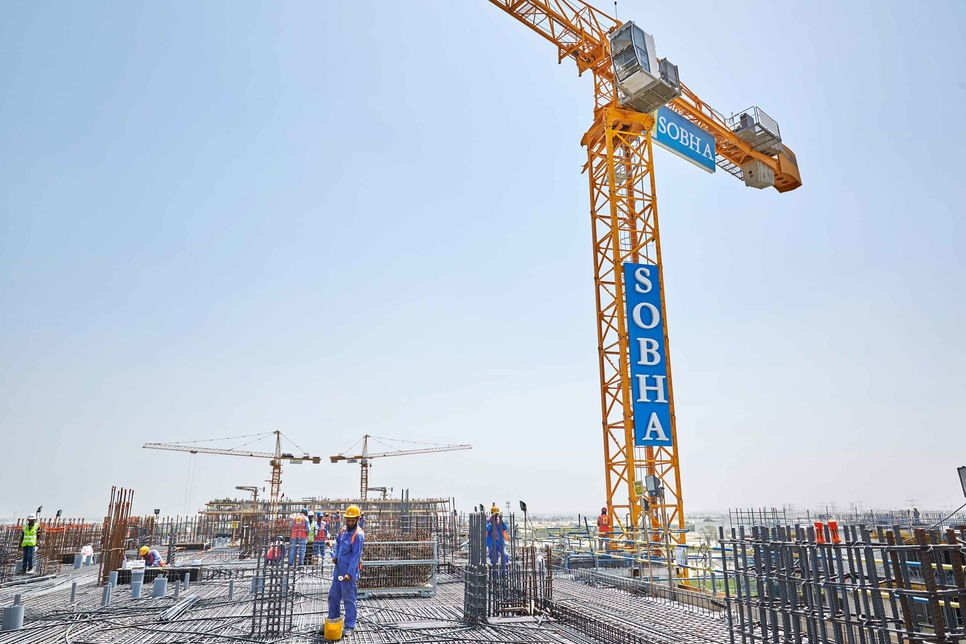 Construction progress has been made at the Sobha Hartland megaproject in Dubai's MBR City.