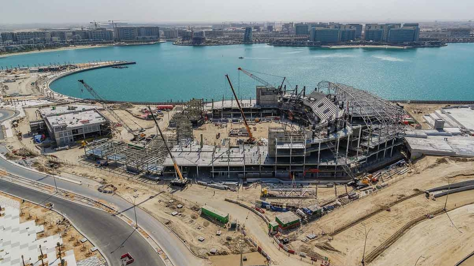 Yas Bay Arena's longest roof truss has been autographed and lifted into place.