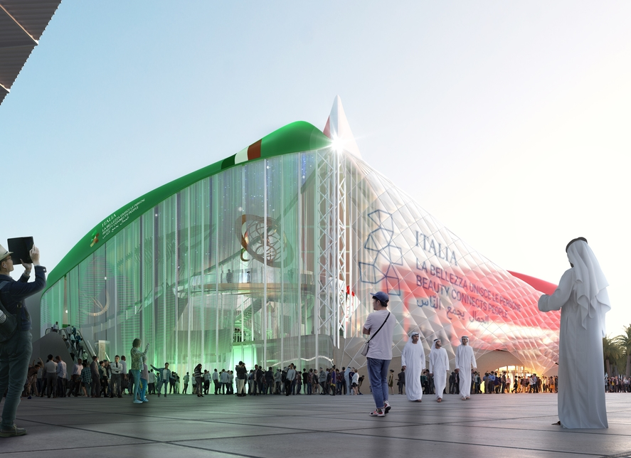 Expo 2020 Dubai's Italy Pavilion features overturned ships for its roof.