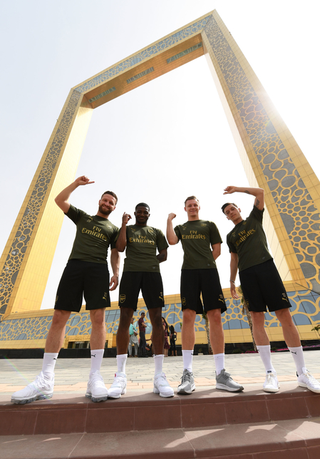 Arsenal stars such as Ozil and Mustafi visited the 150m Dubai Frame.