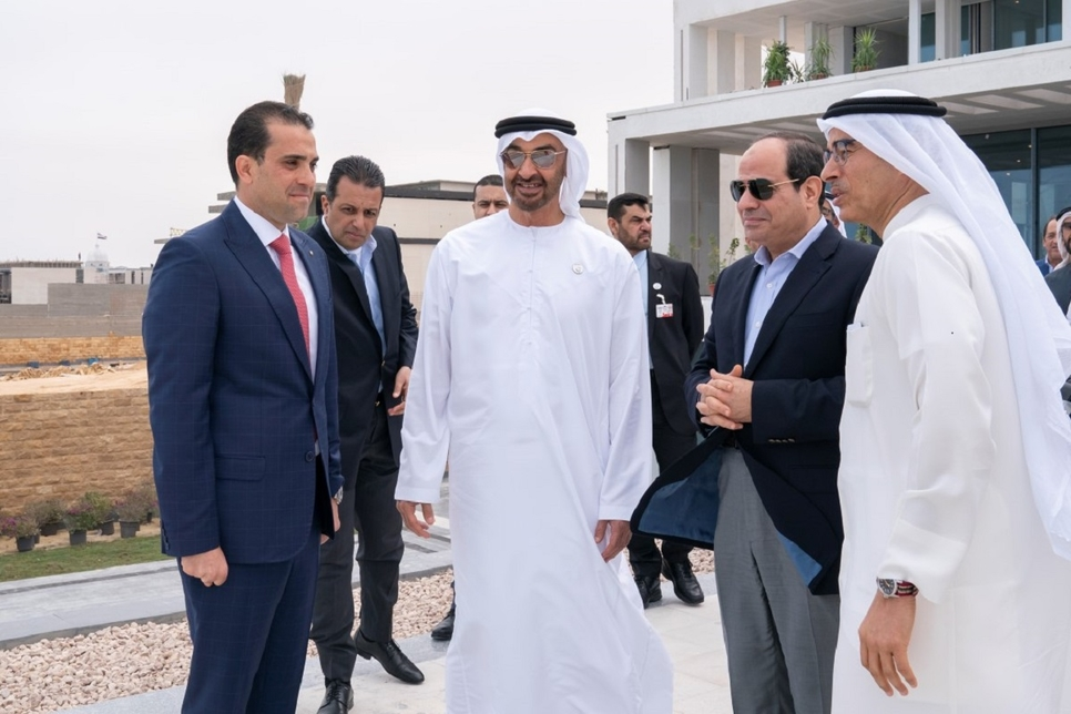 HH Sheikh Mohamed reviewed Al Alamein City's construction progress with Egypt's President Al-Sisi.