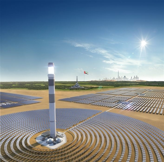 Dewa noted progress on MBR Solar Park's 260m tower.