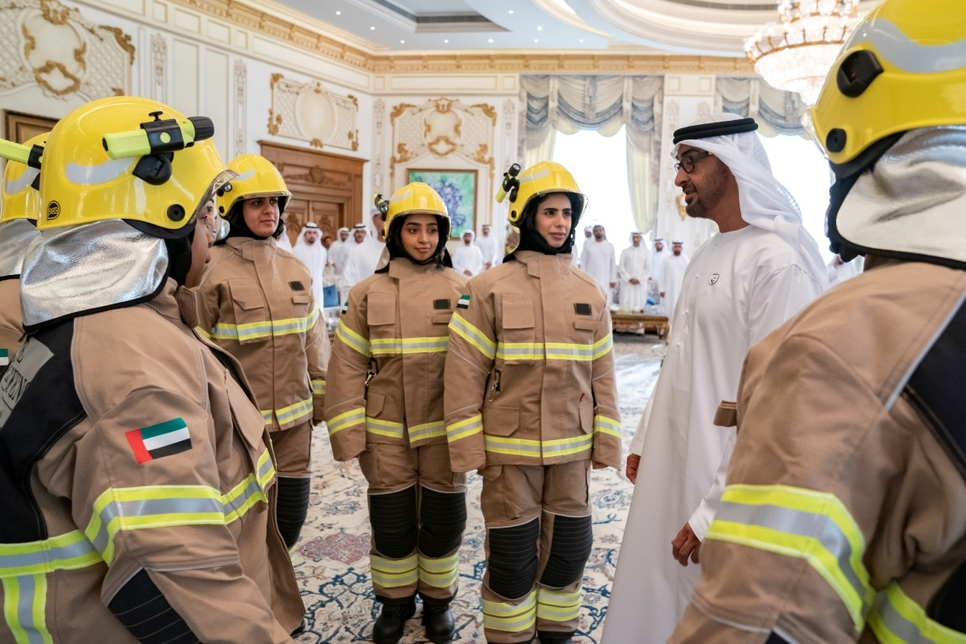 The Crown Prince of Abu Dhabi met the UAE's first Emirati firefighters.