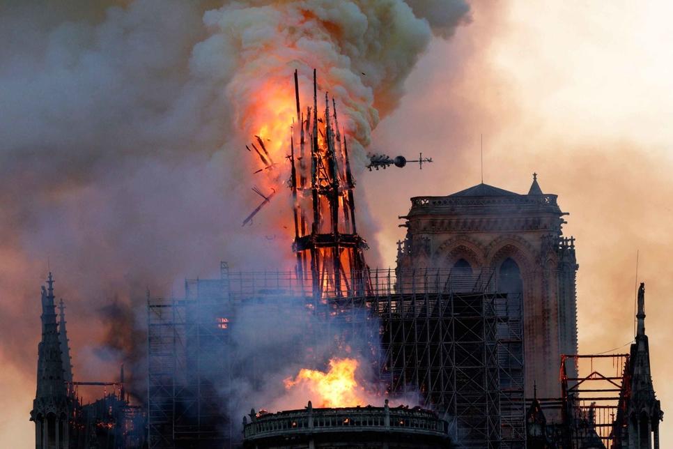 Notre-Dame de Paris's spire moments before its collapse.