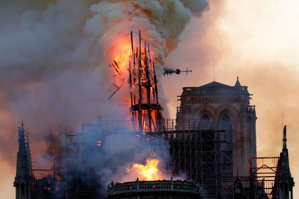 Notre-Dame de Paris's spire moments before its collapse.