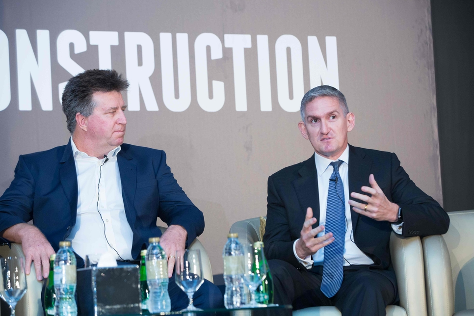 L-R: ALEC's Kez Taylor and Arabtec's Boyd Merritt attended the UAE conference in 2018.