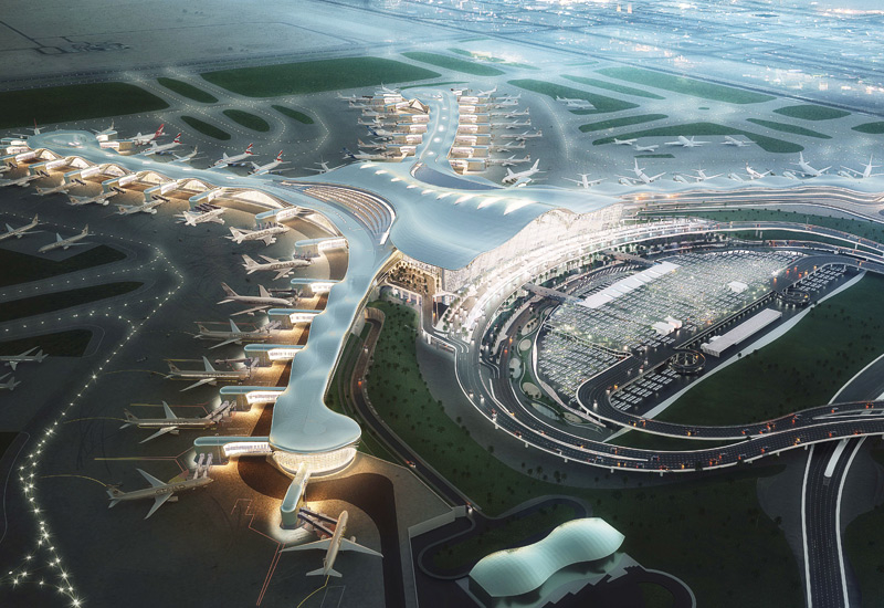 Abu Dhabi Int'l Airport's Midfield Terminal is under construction.