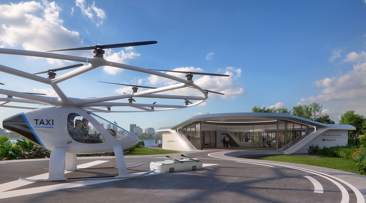 Volo-port is being built by Volocopter and Brandlab