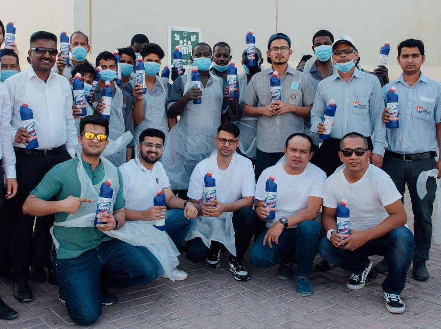 Domestos cleaned 150 toilets in Mayar.