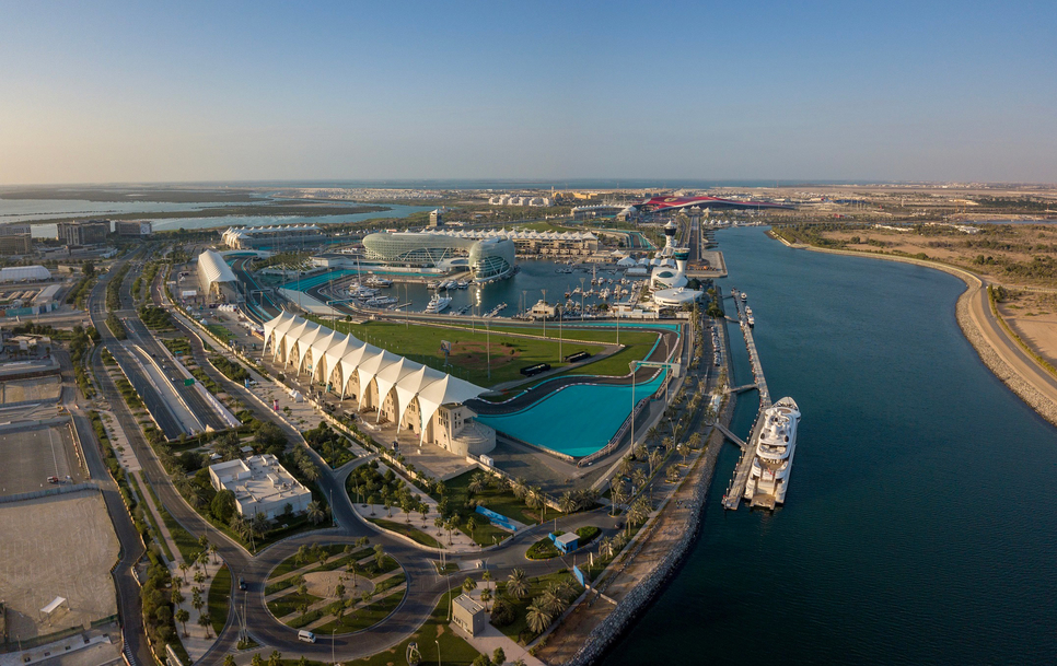 An aerial view of Yas Island.