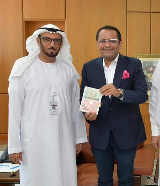Rizwan Sajan (right) with Maj Gen Mohammed Ahmed Al Marri (left), director-general of GDRFA in Dubai.