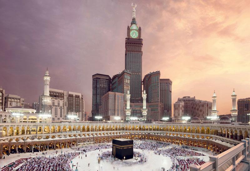 Aerial view of the Makkah Grand Mosque in Saudi Arabia.