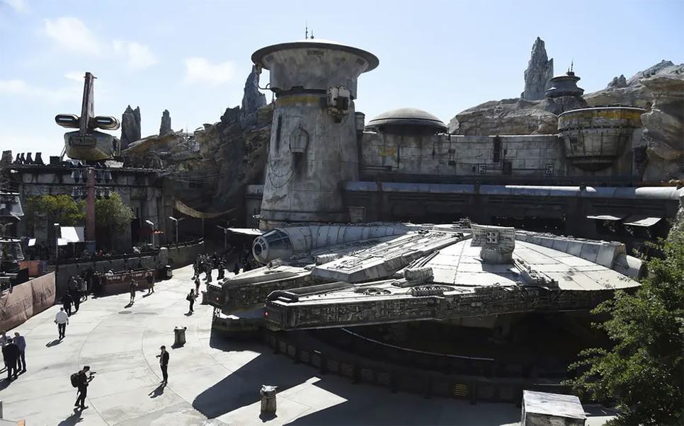 The Millennium Falcon at Star Wars: Galaxy's Edge at Disneyland California.