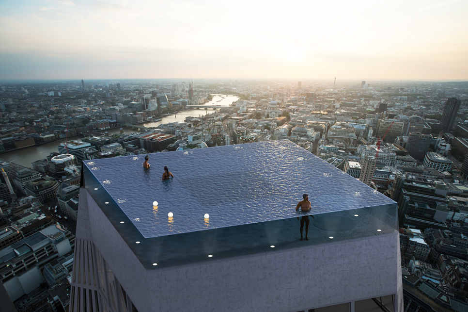 The world's first 360° infinity swimming pool proposed for Infinity London.