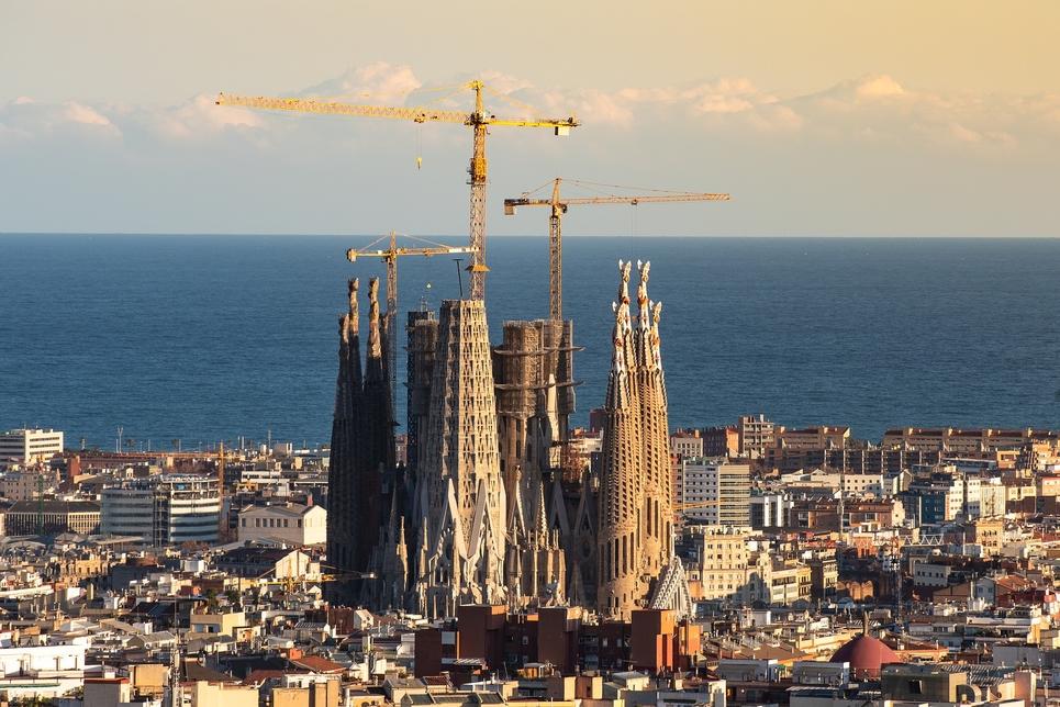 An aerial view of the La Sagrada Familia church in Barcelona.