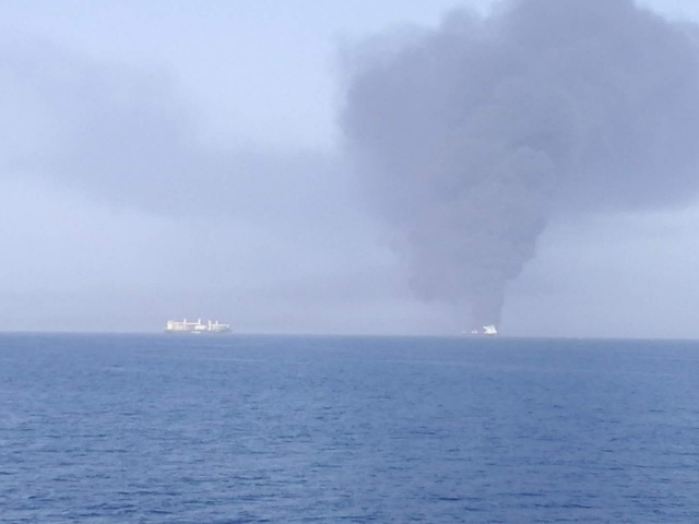 Two oil tankers caught fire.