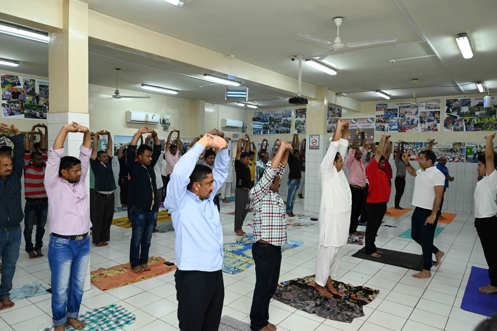 Amana staff participate in International Yoga Day 2019.