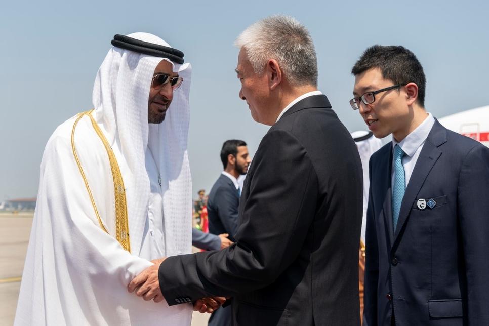 HH Sheikh Mohamed bin Zayed Al Nahyan arrives at Beijing Capital International Airport.