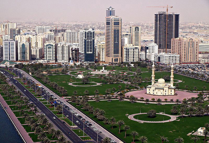 Aerial view of the UAE's Sharjah emirate.